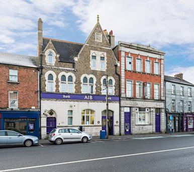 A three-storey building in Naas, Co. Kildare, currently let to AIB is guiding €3m