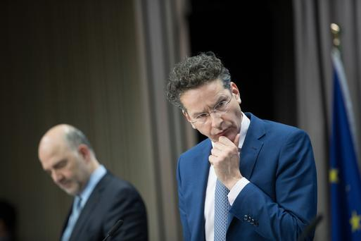Jeroen Dijsselbloem, head of the group of euro-area finance ministers, deep in thought during a news conference following a eurogroup meeting of finance ministers in Brussels during the week Picture: Bloomberg