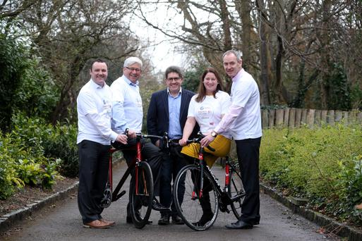 Sunday Independent sports writer Paul Kimmage (centre) joined INM Advertising Manager Paul Muldoon, Peter Bastable of Pinergy, Daisyhouse CEO Orla Gilroy and Pinergy CEO Enda Gunnell for the launch