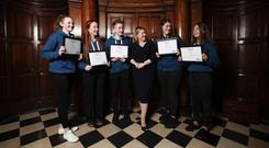 Dearbhail McDonald with 'Aurora'; Alison O'Sullivan of St Peter's College, Dunboyne, Saoirse Logan McGivern of Cross and Passion College, Kilcullen; Christopher Duffy of St Mac Dara's Community College, Templeogue; Aoife Murray of Assumption Secondary, Walkinstown; and Eve Lynch of Loretto College, Foxrock. Picture: Conor McCabe