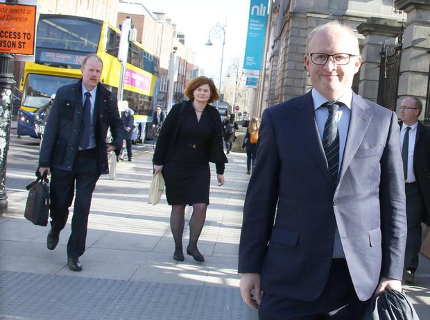 Central Bank Governor Philip Lane, acting deputy governor Bernard Sheridan and director of enforcement Derville Rowland arriving for the Oireachtas Finance Committee meeting Picture: Tom Burke
