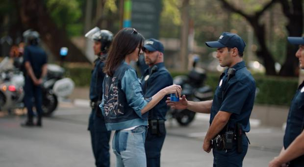 The controversial advert for Pepsi featuring model and TV personality Kendall Jenner