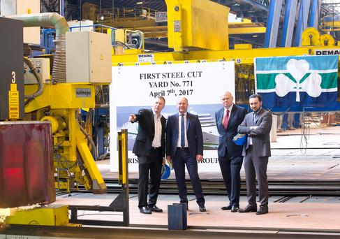 Irish Continental CEO Eamonn Rothwell; Flensburger Schiffbau-Gesellschaft CEO Rodiger Fuchs; Irish Ferries MD Andrew Sheen and Irish Continental CFO David Ledwidge at the German shipyard where construction of a new cruise ferry started this month