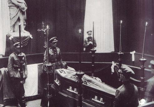 Michael Collins lies in State in 1922 at Dublin's City Hall following his assassination in Cork. His body was prepared for burial at Spruce House