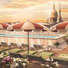 An artist's impression of the rooftop area of The Ned in London