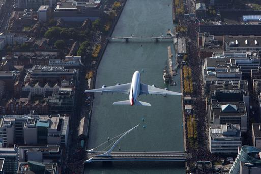 British Airways A380 over Dublin