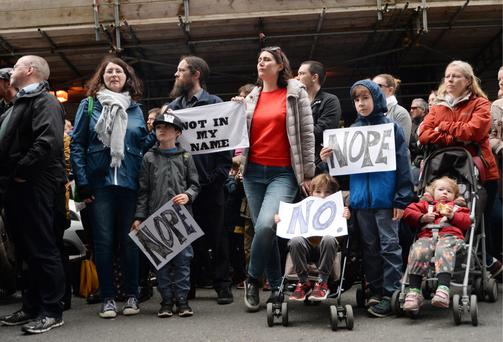 Protesters opposed to Sisters of Charity owning the new national maternity hospital gather outside the Department of Health in Dublin. Photo: Caroline Quinn
