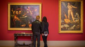 Bono and Ali Hewson admire The Taking of Christ by Michelangelo da Caravaggio in the National Gallery of Art in Dublin. Picture: Arthur Carron