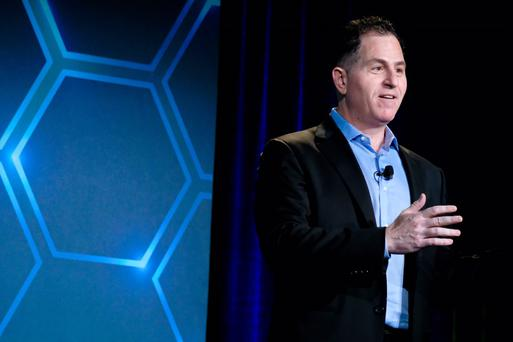Dell founder and chief executive Michael Dell talking to journalists at Dell EMC World today. Photo: Adrian Weckler