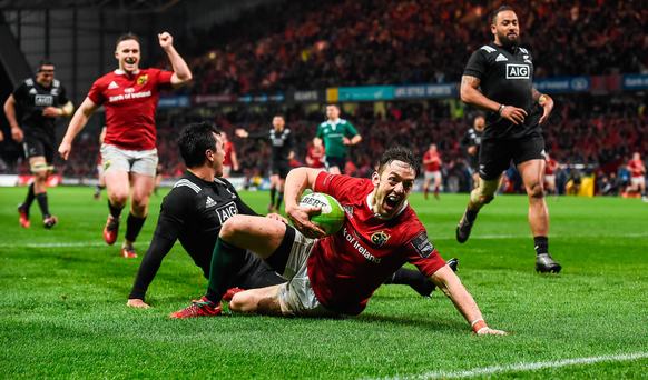 Munster in action against the New Zealand Maori All Blacks at Thomond Park in Limerick – stadiums such as this one will now be eligible for bigger state aid grants
