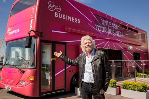 Virgin boss Richard Branson with the Voom Bus that will be going on tour to Dublin and Belfast, as well as cities around the UK