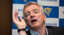 Ryanair's Michael O'Leary at a briefing in the Davenport Hotel, Dublin. Photo: Gareth Chaney/Collins