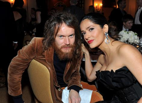 Damien Rice and actress Salma Hayek at a Cinema For Peace event benefitting for Haitian relief in Los Angeles