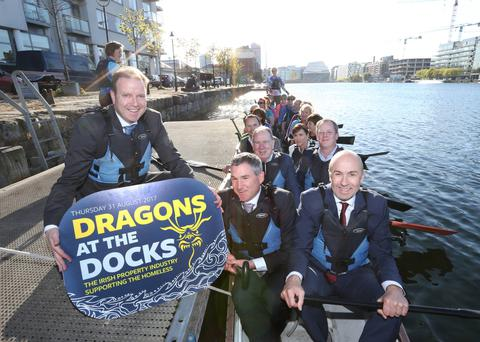 Front row in boat – (l to r) Peter McKenna, Head of Development at Kennedy Wilson Europe; Kevin Nowlan, ceo of Hibernia REIT; second row in boat – Sam McGuinness, ceo of the Dublin Simon Community; Michael Stanley, ceo of Cairn Homes; third row in boat – Charles Coyle, VP, Acquisitions & Development at IRES REIT; and Claire-Ann Minogue, Senior Asset Manager at Hammerson, at the photocall to launch the event