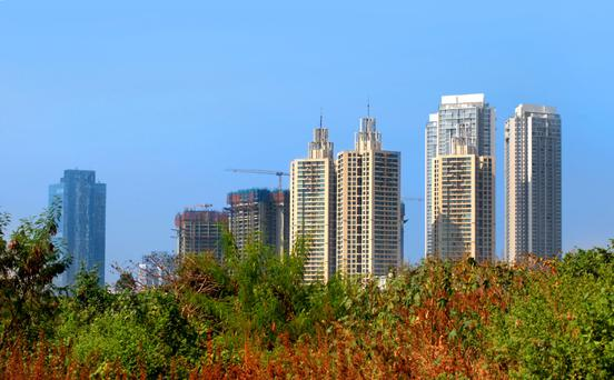 Construction work on new high-rise apartments in Mumbai