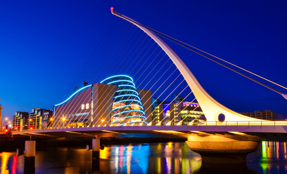 Dublin's Convention Centre designed by architect Kevin Roche and the Samuel Beckett Bridge