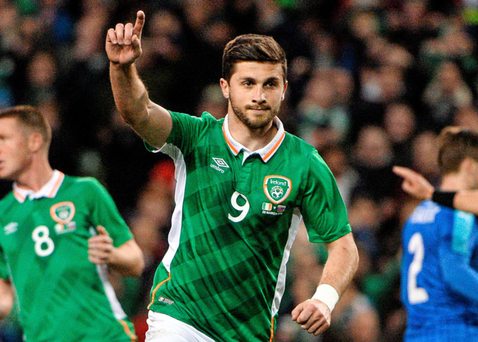 Shane Long in action for the Ireland national team