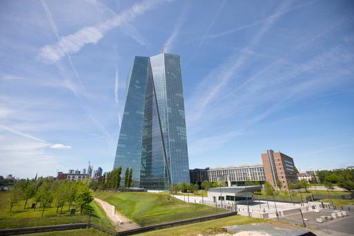 The European Central Bank (ECB) skyscraper headquarter offices stand in Frankfurt, Germany