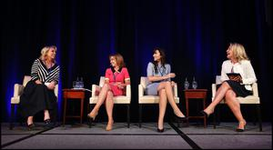 Marissa Carter, CEO of Cocoa Brown; Alison Cowzer, co-founder of East Coast Bakehouse; Caroline Keeling, CEO of Keelings; and moderator Bronwyn Brophy, vice president, Early Technologies EMEA, Medtronic, speaking at the 2017 Ireland's Most Powerful Women Top 25 Celebrations at the Intercontinental Hotel in Dublin. Photo: Steve Humphreys