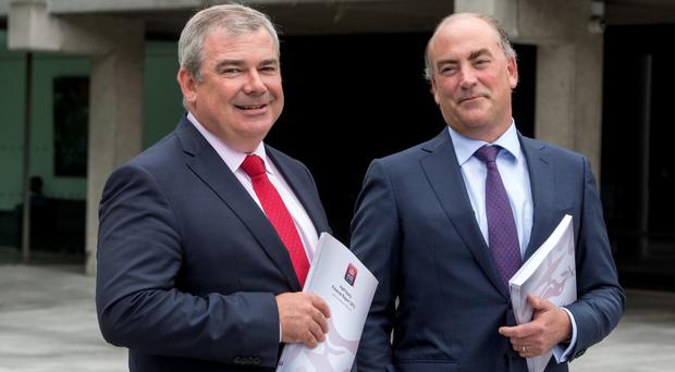 Minister Paschal Donohoe has insisted that the proceeds from the sale of AIB, headed by Bernard Byrne, above, would be used for debt reduction, regardless of European Union rules.