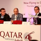 Dublin Airport Authority CEO Kevin Toland, Qatar Airways CEO Akbar Al Baker, and Qatar's senior vice president Europe, Jonathan Harding,speaking at a press conference in the Intercontinental Hotel in Dublin yesterday
