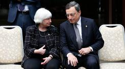 Janet Yellen, chair of the US Federal Reserve, speaks with Mario Draghi, president of the European Central Bank, before a G7 meeting last year