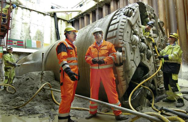 Workers with the boring machine which created a 4.9km tunnel linking the Corrib field to a gas-processing terminal in Co Mayo