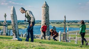 Tourists in Clonmacnoise, Co Offaly: British visitors collectively spent €1.1bn in Ireland last year, two-thirds of it outside Dublin
