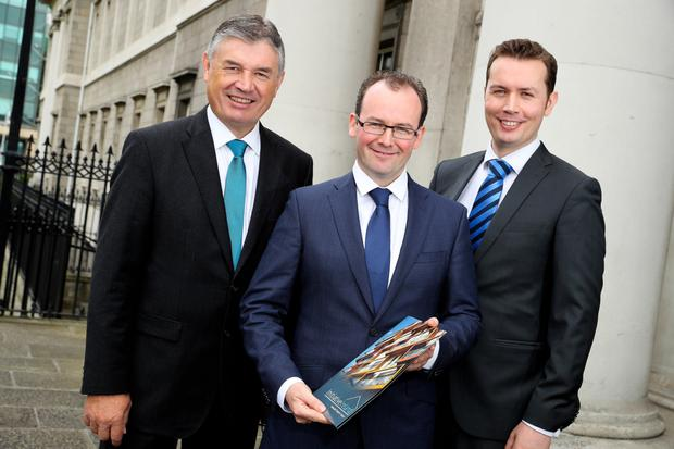 Padraig W Rushe, Rory McEntee and Padraig M Rushe of Initiative Ireland at yesterday's announcement. Photo: Maxwells