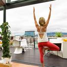 A yoga class on the rooftop area of the expanding Marker Hotel, beside the Bord Gáis Energy Theatre in Dublin's docklands area