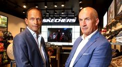 Franchise-holders Sunil Shah and Paul Gallagher pictured at the Skechers store on Henry Street. Photo: Gerry Mooney