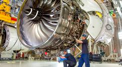 Work being carried out on one of Rolls-Royce's Trent XWB airplane engines