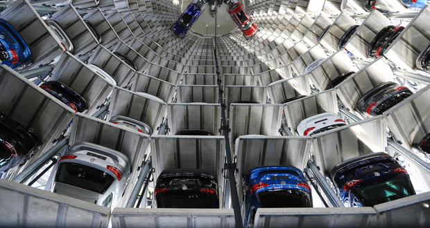 Glass delivery towers at the VW factory in Wolfsburg Photo: Bloomberg