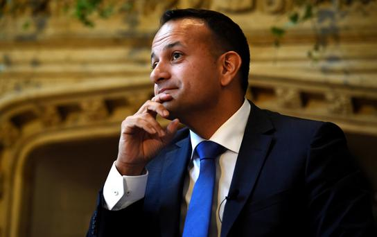 Taoiseach Leo Varadkar at Queen's University Belfast on Friday Photo: Reuters
