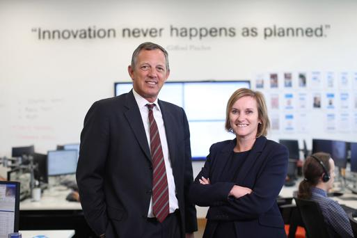 Wim Verbraeken, chief executive, KBC Bank Ireland, with Dara Deering, executive director, retail banking, in KBC's innovation hub as the Irish arm of the Belgian bank announced financial results. Photo: Julien Behal