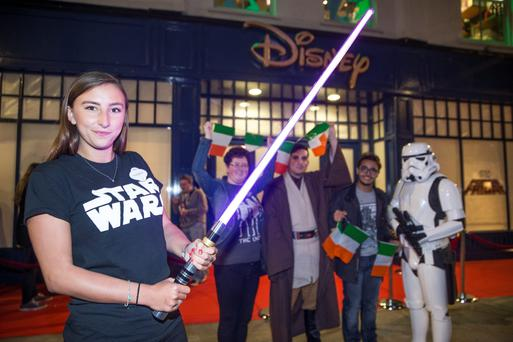Staff at the Disney Store on Grafton Street for the launch of the new Star Wars merchandise from 'The Force Awakens' movie in 2015