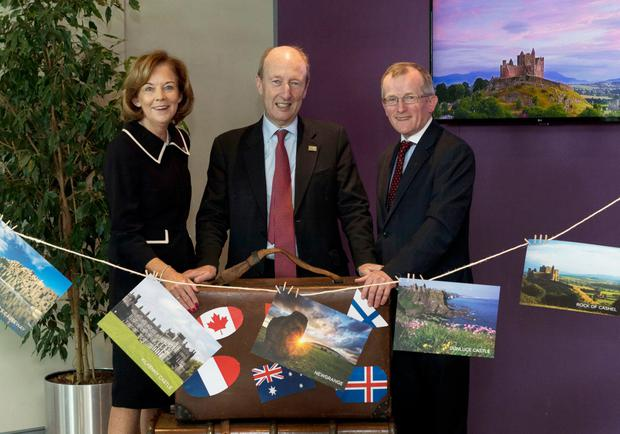 Joan O'Shaughnessy, chairman of Tourism Ireland, Tourism Minister Shane Ross and Niall Gibbons, ceo of Tourism Ireland. Photo: Fennells