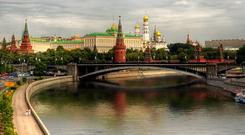 The Kremlin as seen from the banks of the Moskva River in Moscow. Stock image
