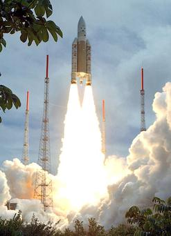 A European Space Agency rocket lifts off in French Guiana