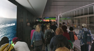 Passengers queuing on walkways to get to T1 passport control after midnight last Wednesday