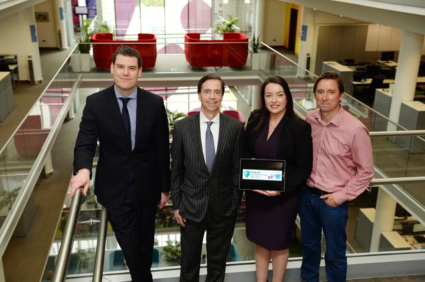 Paul Kavanagh, country manager Cisco Ireland; Bill Archer, managing director of Eir Business; Cliona Carroll, sponsorship and events manager, INM; and Adrian Weckler, technology editor, INM, at Eir's headquarters for the launch of the Dublin Information Sec 2017 which takes place on November 1. Photo: Caroline Quinn