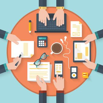 Underlining the agenda or allowing the group to change it can boost effectiveness of meetings. Stock image