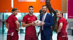 Andrew Murphy, MD of new sponsors Shannon Airport, with Munster's Dan Goggin, Conor Murray and Keith Earls
