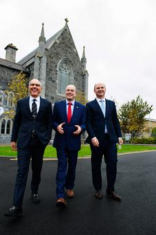 David C McCourt, founder of Granahan McCourt Capital and chairman of enet; Denis Naughten, Minister for Communications; and Stephen Wheeler, managing director of SSE Ireland. Photo: Andrew Downes, xposure