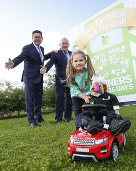 Applegreen COO Joe Barrett (left) and Applegreen CEO Bob Etchingham at the launch of a recent Applegreen promotion. Mr Etchingham says that business 'ticks over' even during bad times