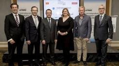 From left: Jim Clery, KPMG; Mark Pollard, Hibernia Reit; Paul Muldoon, INM; Lorna Colley, DIT; Michael Cosgrave, Cosgrave Property Group; and Martin O'Reilly, Irish Life, at a briefing for the upcoming KPMG Irish Independent Property Industry Excellence Awards