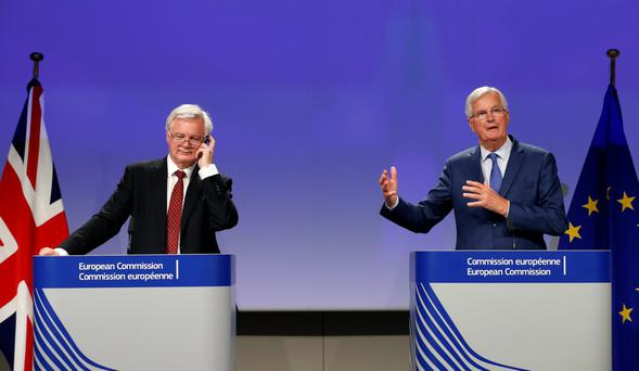UK Secretary of State for Exiting the EU David Davis and chief EU negotiator Michel Barnier