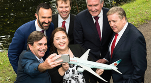 Back row, Andrew Murphy, Shannon Airport, Matthew Thomas, Shannon Group, Kevin Vickers, Canadian Ambassador to Ireland and Trade Minister, Pat Breen. Front row, Declan Power, Shannon Airport and Blaithin O'Donnell, Air Canada.