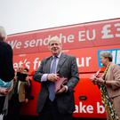 Boris Johnson preparing to board the Vote Leave campaign bus in Truro, Cornwall the month before Britain's vote to leave the EU. He has set out his vision for Britain's exit from the European Union that revisits the widely criticised claim that Brexit could boost the UK's NHS coffers by £350 million a week.