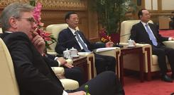 From left, INM editor-in-chief Stephen Rae, Zhang Gaoli, Chinese vice premier for the economy, and Yang Zhenwu, president, People's Daily, in the Great Hall of the People.